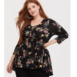 Torrid Super Soft Knit Black Floral Babydoll Tee